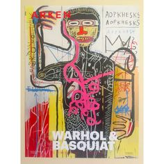 This Andy Warhol & Jean Michel Basquiat rare limited edition offset lithograph print exhibition poster is an incredibly special and unique piece to. Jean Michel Basquiat Art, Jm Basquiat, Basquiat Artist, Andy Warhol, Pop Art, Sgraffito, Keith Haring, Graffiti Kunst, Illustration Arte