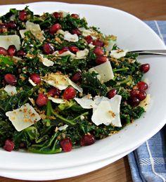 Parmigiano & Pomegranate Kale Salad - Cooking with Cakes. http://cookingwithcakes.com/parmigiano-pomegranate-kale-salad/