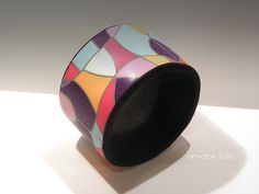 Polymer clay patchwork bangle by Orson's World, via Flickr