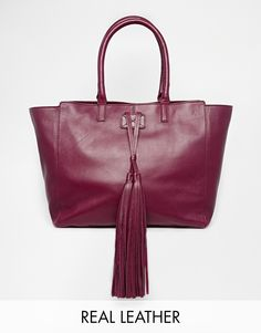 ASOS Leather Handheld Bag with Oversized Tassles