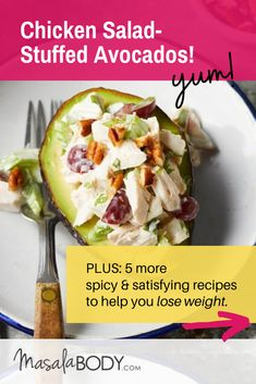 Chicken Salad-Stuffed Avocados - Delicious and easy to meal prep for work lunch. Plus: 5 more spicy fat burning recipes for lunch! About weight loss meals, spicy fat burning foods, meal prep for work lunches, fat loss over Turmeric Recipes, Spicy Recipes, Healthy Recipes, Pepper Recipes, Healthy Drinks, Meal Prep For Work, Bright Line Eating Recipes, Clean Eating, Healthy Eating