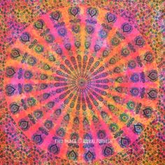 Holi Theme Tie Dye Mandala Tapestry, Bedding Throw