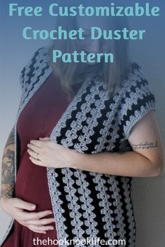 Come make this cute women's crochet duster cardigan using the Free Pattern on The Hook Nook Life Blog!