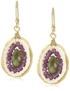 Earrings. Best discount Eva Hanusova products: Eva Hanusova Turquoise Garnet Delicate Earrings   The SourceMall Net