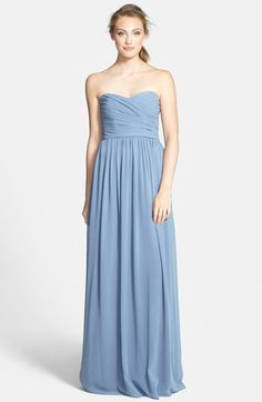 Monique Lhuillier Bridesmaids Strapless Ruched Chiffon Sweetheart Gown (Nordstrom Exclusive) available at Our store sample is in blush. To try on this dress and more please contact The Nordstrom Topanga Wedding Suite. Strapless Sweetheart Neckline, Strapless Dress Formal, Pale Blue Bridesmaid Dresses, Monique Lhuillier Bridesmaids, Formal Dresses For Women, Chiffon Skirt, Nordstrom Dresses, Wedding Inspiration, Wedding Ideas