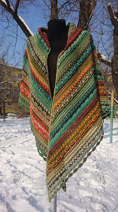wool shawl Lost in Time big colorful stripes winter shawl Crochet Shoes, Knit Or Crochet, Lace Knitting, Knitting Socks, Knitting Patterns, Crochet Patterns, Crochet Classes, Crochet Projects, Crochet Patron