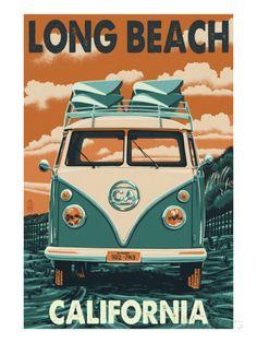 Long Beach, California - VW Van Poster by Lantern Press at AllPosters.com