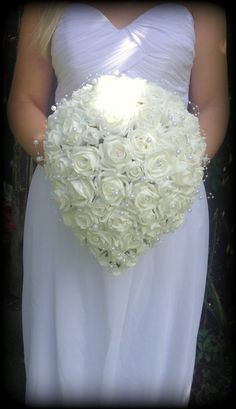 Teardrop brides bouquet in artificial foam roses and pearls with diamanté sparkle elegant modern design