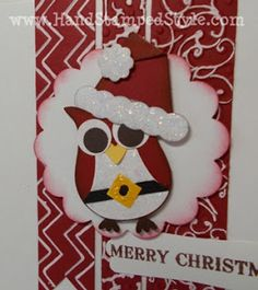 owl punch, punch art, santa, christmas card