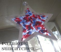 red white and blue patriotic star suncatcher memorial day and july 4th crafts for kids