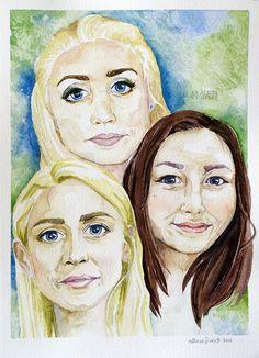 """""""Tre barnbarn"""", akvarell av Alicia Sivertsson. """"Three grandchildren"""", watercolour by Alicia Sivertsson."""