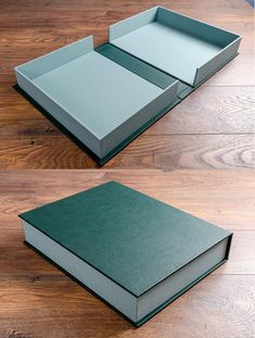 Bespoke clamshell box in green faux leather and mint green book cloth. Diy Crafts Hacks, Diy Home Crafts, Book Crafts, Diys, Paper Crafts Origami, Cardboard Crafts, Diy Gift Box, Diy Box, Handmade Books