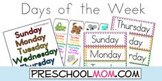 Free Days of the Week Printables from Preschool Mom! Classroom Charts, Bookmarks, Wordwall cards, File Folder Game, Learning Centers and more! Preschool Calendar, Preschool At Home, Preschool Printables, Preschool Kindergarten, Preschool Learning, Classroom Activities, Preschool Activities, Teaching Kids, Learning Centers