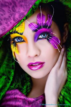 Bright yellow & purple flower makeup