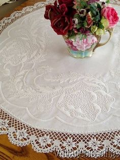 "$48 Fine Antique French Whitework & Bobbin Lace Round Tablecloth 39"" www.Vintageblessings.com"