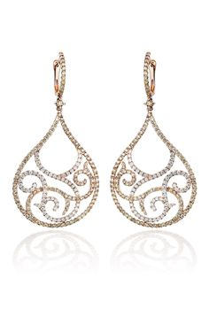 """From Haute Vault's Italian Collection, these magnificent 18K rose gold, white and cognac diamond filigree earrings are a stunning adornment for any occasion. A truly elegant alternative to a hoop or stud, they pair perfectly with an elegant suit or black tie gown. Measures 2 3/8"""" long 1 1/8"""" wide"""