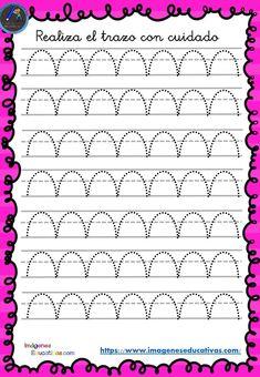 Cuaderno de preescritura y perfeccionamiento de caligrafía - Imagenes Educativas Preschool Writing, Kindergarten Worksheets, Preschool Crafts, Tracing Sheets, Tracing Letters, Teaching Cursive, Pre Writing, Kids Corner, Fine Motor