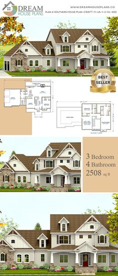 18 Trendy house plans with wrap around porch basement Porch House Plans, Basement House Plans, Best House Plans, Dream House Plans, House Floor Plans, Southern House Plans, Country House Plans, Southern Homes, Custom Home Plans