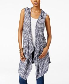 INC International Concepts Hooded Draped Duster Vest, Only at Macy's | macys.com