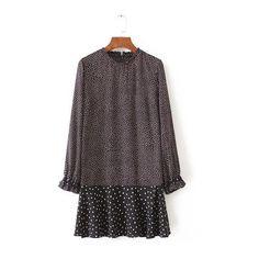 Rotita Long Sleeve Polka Dot High Neck Black Dress (610 MXN) ❤ liked on Polyvore featuring dresses, black, long sleeve mini dress, long sleeve pattern dress, polka dot dress, print mini dress and dot dress