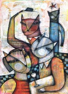 DAN CASADO outsider folk art wood CAT PEOPLE original painting collage