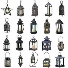 Metal Hanging or Tabletop Lanterns Moroccan Style $10.75 each, would be nice to have a variety.