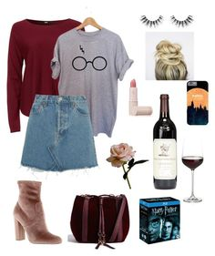 """""""Harry Potter + wine = a good time"""" by leslie-williams13 on Polyvore featuring Crate and Barrel, RE/DONE, Velour Lashes, Steve Madden, Lipstick Queen and Abigail Ahern"""