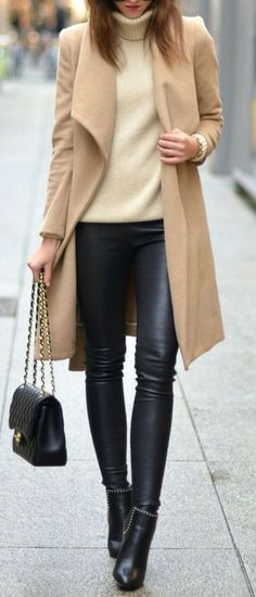 fall fashion trends | nude coat + sweater + bag + leather pants + boots