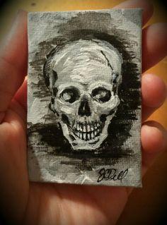 Mini skull study acrylic. www.facebook.com/JCDellArt