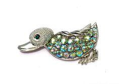 Vintage Coro Duck Pin Brooch Aurora Borealis Duck by justvintage4u