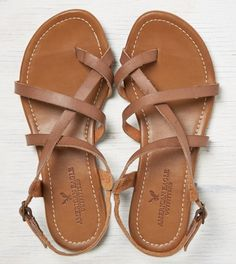 Brown AEO Strappy Criss Cross Sandal