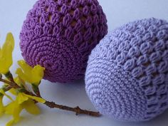 Easter crochet eggs in two shades of violet color. Crochet Food, Love Crochet, Crochet Gifts, Knit Crochet, Easter Crafts, Holiday Crafts, Easter Crochet Patterns, Holiday Crochet, Yarn Crafts