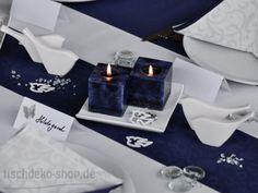 Tischdeko blau/weiß mit Porzellan-Vögeln