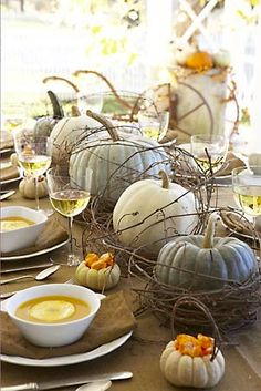 Rustic Pumpkin Centerpiece; Thanksgiving/Harvest Party Ideas; I could use my grape vines to make the little nests. Nice!