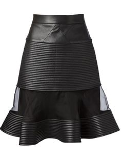 DAVID KOMA Sheer Panel Leather Skirt.