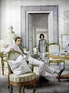 Cy Twombly and his wife, Rome, Italy. Twombly, the son of White Sox pitcher Cy Twombly, married a Baroness.