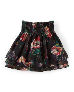 Tiered Floral Chiffon Skirt, Black/Multicolor, Size 2T-6X, Women's, Size: 6X, Black Multi - Ralph Lauren Childrenswear
