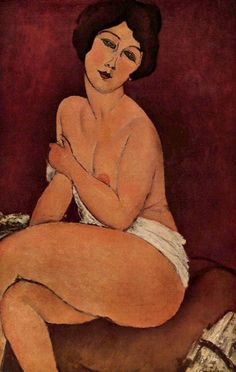 Amedeo Modigliani - Nu assis sur un divan (La belle Romaine), 1917
