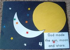 sun moon and star crafts | Bible story : God made the sun, moon, & stars.