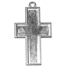 Sieraadvorm model kruis. Uitvoering met oogje en opstaand randje.  Leverbaar in de maten: 38x28mm en 33x21mm. Kleur zilver. Nikkelvrij. Per zakje met 1 stuk.