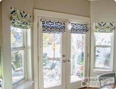 This tutorial will help you make Roman Shades for French Doors. They are real Roman Shades, meaning they pull up with cording. They are not faux shades! They really do lower for privacy, as much or as