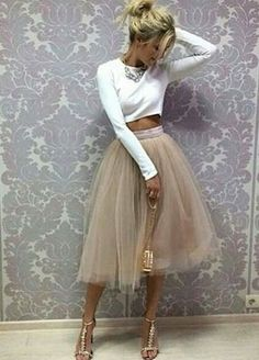 Tulle Prom Dress,Two Pieces Long Sleeve Prom Dress,Custom Made Evening from FancyGown – Moda Nye Outfits, Skirt Outfits, Fashion Outfits, Fashion Skirts, Tule Skirt Outfit, Christmas Party Outfits, Dress Fashion, Midi Skirt, Party Fashion