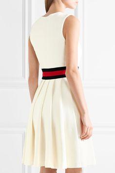 Gucci - Jersey-trimmed Pleated Twill Mini Dress - Ivory -
