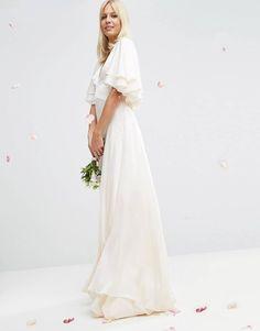 ASOS BRIDAL Flutter Sleeve Paneled Maxi Dress