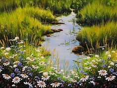 """Lillies and Daisies   30x40"""" Acrylic on Canvas"""