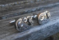by TreeTownPaper on Etsy Wedding Men, Wedding Rings, Watch Cufflinks, Steampunk Watch, Vintage Cufflinks, Men's Grooming, A 17, Vintage Watches, Gifts For Dad