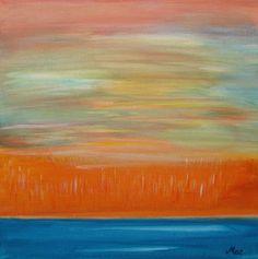 "Blue Orange Sunset Painting Abstract Landscape Colorful Abstract Acrylic Painting Abstract Orange Blue Canvas Art 12x12"" PuzzledbyArtmondo"