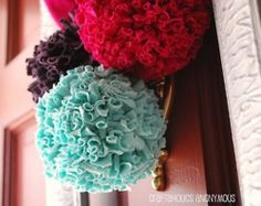 Teal, red, brown tshirt pom poms