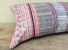 Vintage Cotton Hand Print Tribal Hmong Pillow by orientaltribe11