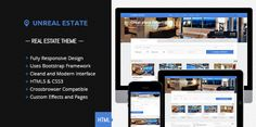 Buy Unreal Estate - Responsive Real Estate template by FinalDestiny on ThemeForest. WordPress version here! Unreal Estate is a responsive real estate template which allows you to display lots of prope. Theme Template, Template Site, New Property, Property Search, Theme Forest, 404 Pages, Real Estate Templates, Real Estate Business, Corporate Business